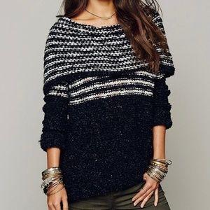 Free People Engineered Stripe Cowl Neck Sweater
